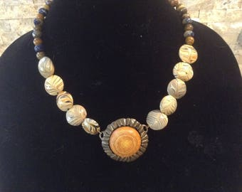 Ladies Necklace, Czech Glass Beads, Natural Stone Jewelry