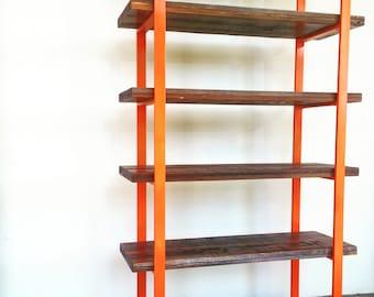 Reclaimed Wood Bookcase Orange Frame