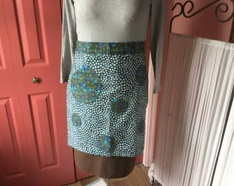 Pop Art Cafe Styled Half Apron in Turquoise Blue with Brown.