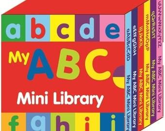 Preschool ABC Mini Library Board Books Learn The Alphabet Letters  Children Educational Board Book 2639ABCML