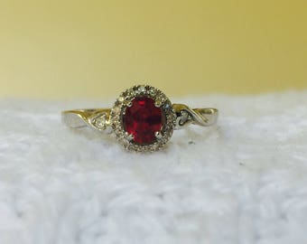 Womens new genuine ruby and diamond ring set in sterling silver