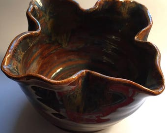 Small Pottery flared Dip Bowl Handmade Gift Free Shipping