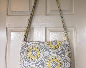 Yellow and Gray Messenger Bag with White Lining
