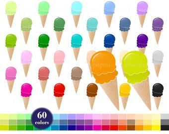 Ice cream Clip Art, Ice cream Printable, Ice cream Planner, Rainbow Clip Art, Ice cream Clipart, Colors Ice cream, Digital Clipart