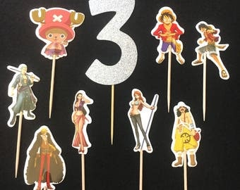 12 Pcs, One Piece Cupcake Toppers, One Piece Cake Toppers, One Piece Birthday Party, Custom Toppers, Japanese Animations