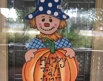 Scarecrow door hanger, Fall door hanger, Happy Fall door decor, Pumpkin door hanger