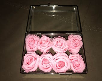 Pink Preserved Roses in Glass Box
