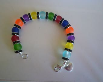 Frosted multicolored 8mm beaded bracelet