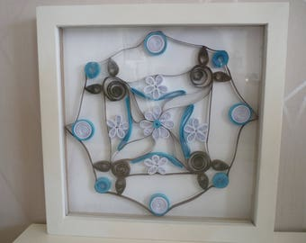 turquoise and Brown rose frame