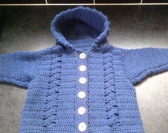 Baby's crochet hooded cardigan