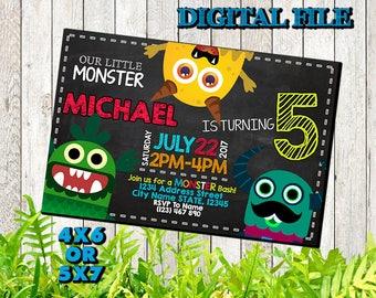 Little Monster Invitation / Little Monster Birthday Invitation / Little Monster Birthday / Little Monster / Little Monster Party / SL