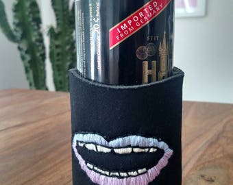 Custom Embroidered Drink Cozy - Blue Mouth