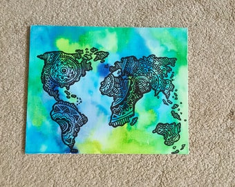 Vivid World Map Watercolor