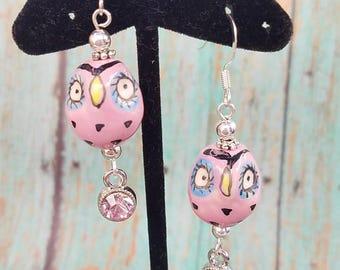 Pink porcelain owl earrings.