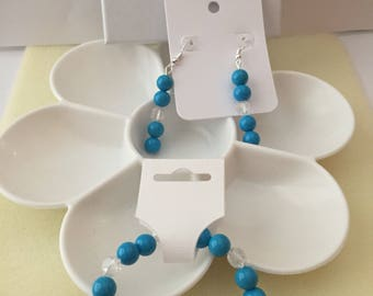 Blue and clear beaded bracelet set