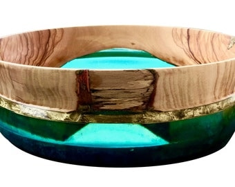 Wood and Resin Original Bowl,Greek Olive Wood,Turquoise Sea Resin,Golden Belt,Decoration,Serving,Gift,Fruits,Chips,Nuts,Candies,Biscuits etc