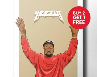 Kanye West poster / wall art / wall decor / rap poster / hip hop / rap artist / dope art / music poster / rapper / yeezus print / pablo