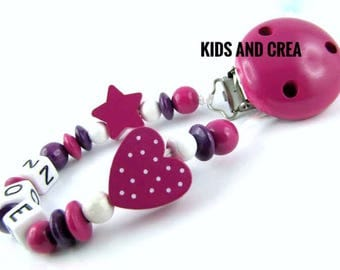 Dummy pacifier chain with name