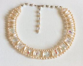 Vintage wedding necklace. Bride. Bridesmaid. 1950's faux pearl and crystal collar.