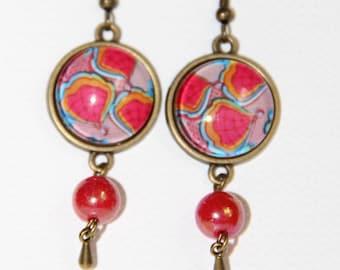 Earrings pink dangle flower cabochon