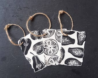 Lino Print Fruit Gift Tags