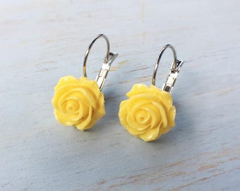 Rose Dangle Earrings / Yellow Rose / Silver Plated
