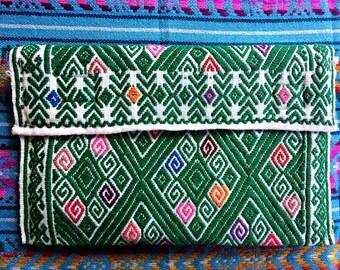 Handmade Embroidered Fabric Shoulder Bag Clutch Chiapas