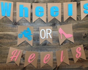 Supercross Gender Reveal Banner/ Motocross Gender Reveal/ Wheels or Heels/ He or She/ Baseballs or Bows/ Touchdowns or Tutus/ Lures or Lace