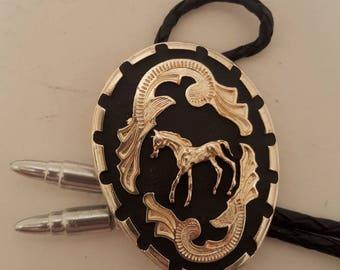Western wear horse  bolo tie.