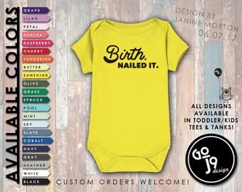 Funny Baby Onesie, Funny Baby Clothes, Unisex Onesie, Graphic Baby Tee, Trendy Tees, Custom Onesie, Shower Gift, Joke Onesie, Birth Nailed