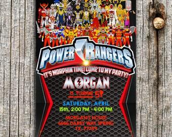 Power Ranger Invitation,Power Ranger Party,Power Ranger Birthday,Power Ranger Invite,Power Ranger Birthday Party,Power Ranger Card