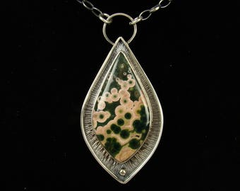 Ocean Jasper Necklaces, Pendants, Sterling Silver 925,Oxidised,Handmade