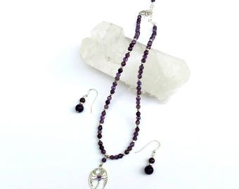 Amethyst, Sterling Silver Necklace & Earrings Set With Sterling Dragonfly Pendant