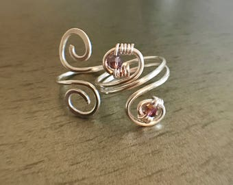 Silver plated swirl design ring set: hand and toe ring