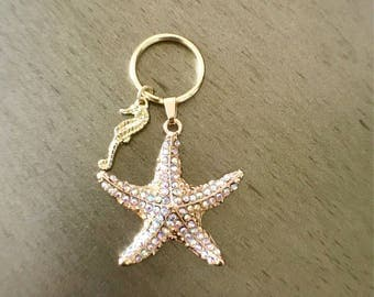 Gold jeweled starfish with seahorse charm keychain