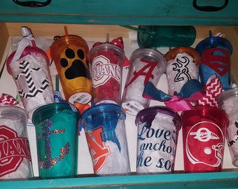 Cups with lid and Straw and Vinyl Decal