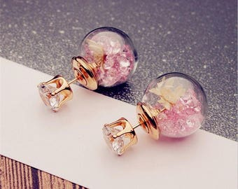 Rose Glass Flower and Rhinestone Stud