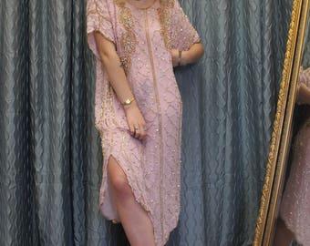 1980s Sequins Queen Pink Dress