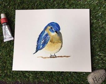 Little blue bird watercolour painting