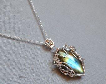Blue Golden Labradorite Pendant Necklace Sterling Silver Birthday Anniversary Unique