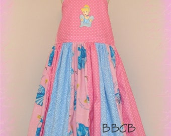 Cinderella Princess Pink Blue Dress - Ready to Ship -- fits aprox 8/9 MAYBE 9/10- Birthday Party - Godmother