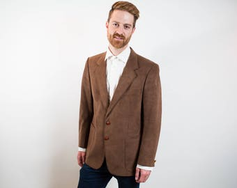 Vintage Mens Large Brown Wool Sports Coat / A Jan Marco Creation for Alcantara Iganto / Made in Italy Felt-like Suit Blazer