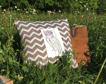 Owl Flower Crown Pillow Cover