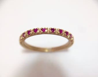 Yellow Gold Diamond Eternity ring with magnificent natural diamonds rubies