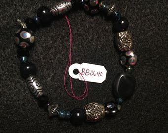 Black and Holographic Beaded Bracelet