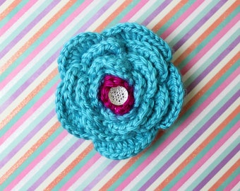 What A Teal! Crochet Flower Accessory