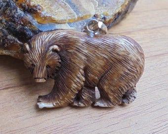 Bear Pendant, Bear Carving in Brown Color, Bali Bone Jewelry P107-01