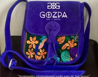 Leather suede model messenger bag