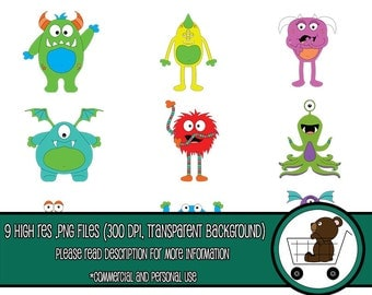cute monster clipart - cute digital monster/monster graphics/party clipart/monster stickers/cute monster icon