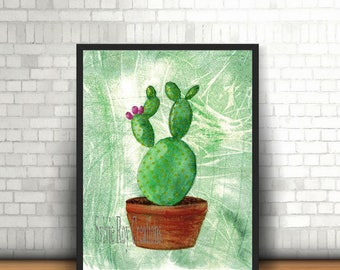 digital download, print, cactus, flowers, wall decor, living room, office, watercolor, instant download, image, download